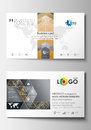 Business card templates. Cover design template, easy editable blank, abstract flat layout. Golden technology background Royalty Free Stock Photo