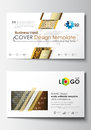 Business card templates. Cover design template, easy editable blank, abstract flat layout. Islamic gold pattern