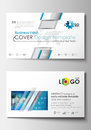 Business card templates. Cover design template, easy editable blank, flat layout. Abstract triangles, blue and gray Royalty Free Stock Photo
