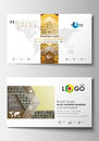 Business card templates. Cover design template, easy editable blank, flat layout. Islamic gold pattern, overlapping