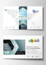 Business card templates. Cover template, easy editable, abstract flat design vector layout. Chemistry pattern, hexagonal