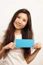 Business cards and blank signs card young woman holding card that can be replace with everything you want namecard sign etc shoot Stock Photography