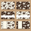 Business cards with brown and white floral pattern. Vector illustration. Royalty Free Stock Photo