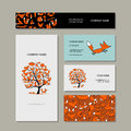 Business cards collection, foxy tree design