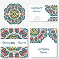 Business cards collection. Ornament for your design with lace mandala. Vector background. Indian, Arabic, Islam motifs Royalty Free Stock Photo