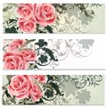 Business cards set in floral style of brochures with roses flowers for design Stock Photos