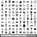 100 business career icons set, simple style