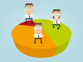 Business cartoon men on diagram illustration of Royalty Free Stock Photography