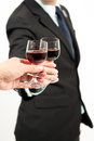 Business celebration close up of human hands cheering up with flutes of wine Stock Photography