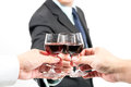 Business celebration close up of human hands cheering up with flutes of wine Stock Photo