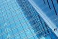 Business center blue glass walls Stock Photos