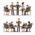 Business character at the table in conference hall. Man and woman in rich costume. Vector illustrations set Royalty Free Stock Photo