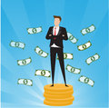 Business characters. Businessman standing on top of gold coins with money