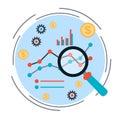 Business chart, financial statistics vector concept