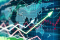 Business chart with glowing arrows and world map Royalty Free Stock Photo