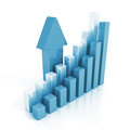 Business chart graph and rising up arrow finance success concept d render illustration Royalty Free Stock Photos
