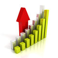 Business chart graph and rising up red arrow finance success concept d render illustration Royalty Free Stock Image