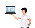 Business chart woman holding laptop with Stock Image