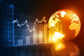 Business chart with world Royalty Free Stock Photo