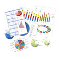Business charts and graphs isolated Stock Photography
