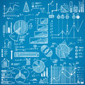 Business charts, graphs, stats doodles set on blue background. Royalty Free Stock Photo