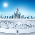 Business cityscape with labyrinth and man Royalty Free Stock Photo