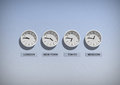 Business clocks on blue wall Royalty Free Stock Photo