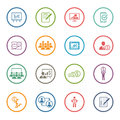 Business Coaching Icon Set. Online Learning. Flat Design. Royalty Free Stock Photo
