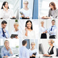 Business collage. Collection of photos about communication and office workers Royalty Free Stock Photo