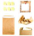 Business collage with recycled paper letter envelope sticky not notes and crumpled craft isolated on white background high Stock Image