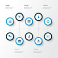 Business Colorful Icons Set. Collection Of Manager, Mail, Growing Chart And Other Elements. Also Includes Symbols Such