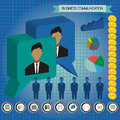 Business communication infographic with icons, persons, money and charts, flat design Royalty Free Stock Photo