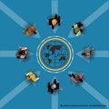 Business communications worldwide trade.Vector flat design