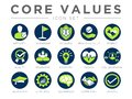 Business Company Values Round Icon Set. Integrity, Leadership, Boldness, Value, Respect, Quality, Teamwork, Positivity, Passion,