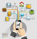 Business computer network business hand with mobile template c can be used for workflow layout banner diagram web design Stock Images