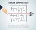 stock image of  business concept backgroind. 3d rocket finding a solution, problem solving.vector illustration.