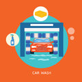 Business concept car wash best clean non stop auto Royalty Free Stock Photo