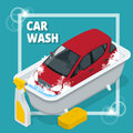 Business concept car wash. Car wash, auto cleaner, washer shower service banner. Flat 3d vector isometric illustration. Royalty Free Stock Photo