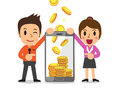 Business concept cartoon smartphone help business people to earn money Royalty Free Stock Photo