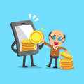 Business concept cartoon smartphone help senior man to earn money