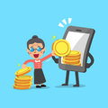Business concept cartoon smartphone help senior woman to earn money