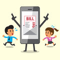 Business concept cartoon smartphone show electronic bill payment to people