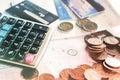 Business concept with coins, deadline calendar ,calculator, credit card