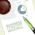 Business concept and corporate work with pen and coffee cup vector Royalty Free Stock Image