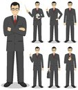 Business concept. Detailed illustration of american european businessman standing in different positions in flat style