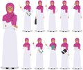 Business concept. Detailed illustration of muslim arabian businesswoman standing in different positions in flat style