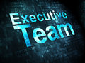 Business concept executive team on digital pixelated words background d render Stock Photos