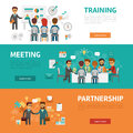 Business concept flat banners, icons set of office meeting, training, agreement, partnership, workplace and project