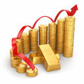 Business concept grow in the gold price d Stock Photo