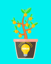Business concept idea is profitable. lightbulb idea sign in a pot with money tree. Idea make money. Vector flat cartoon